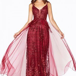 Glitted Tulle Overlay V-Neck Prom Gown CDCD0147